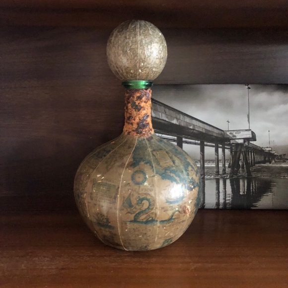 Vintage Paper Map Wrapped Green Glass Bottle